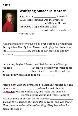 English worksheets: Wolfgang Amadeus Mozart